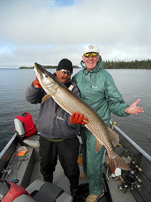 "Walter Moede with 47"" Northern Pike from Silsby Lake"