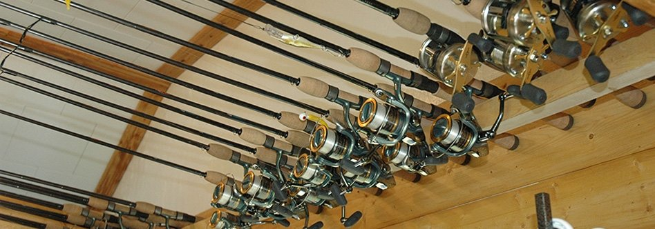 fishing rods in a line