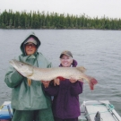 Arvis Groebner with one of two of her trophy Pike caught while at Silsby.